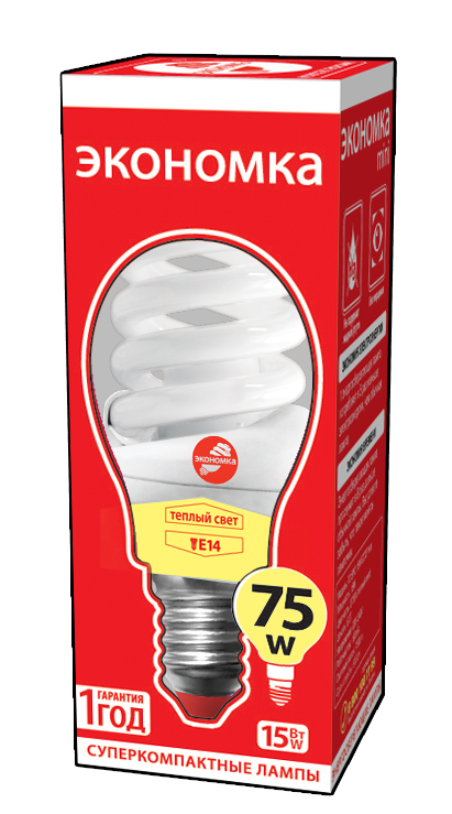 Лампа энергосберегающая ЭКОНОМКА 15Ватт 2700К Е14 Т2 трия гамма т2 15