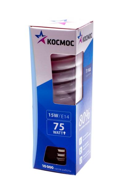 Лампа энергосберегающая КОСМОС 15Ватт 2700К Е14 Т2