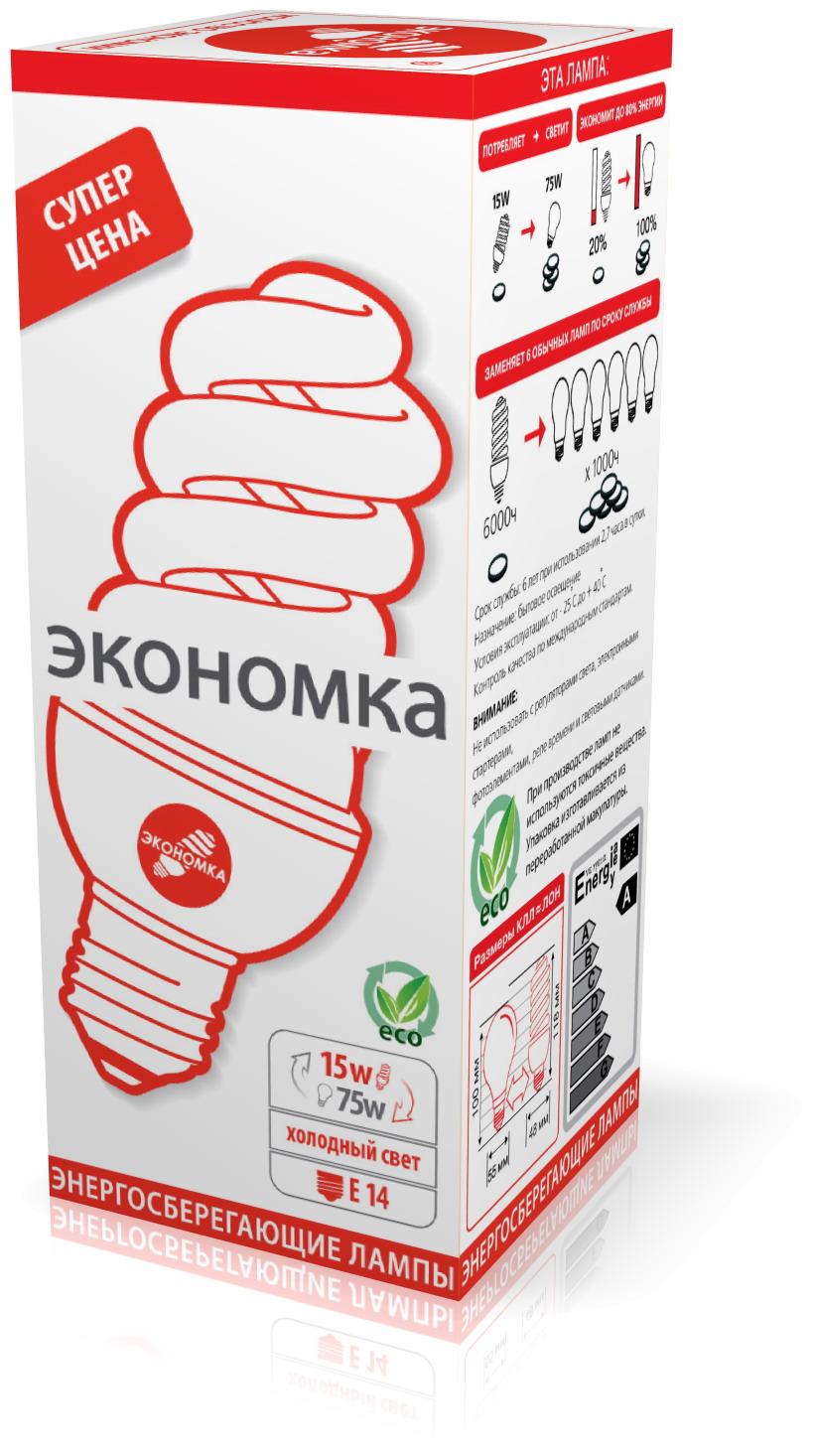 Лампа энергосберегающая ЭКОНОМКА 15Ватт 4200К Е14 Т3 лампа энергосберегающая экономка 15ватт 4200к е27 т3