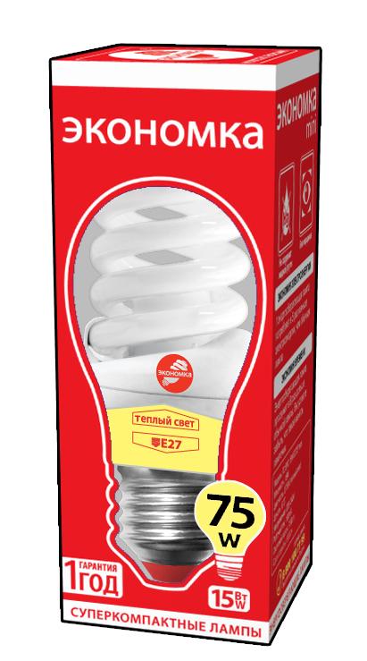 Лампа энергосберегающая ЭКОНОМКА 15Ватт 2700К Е27 Т2 трия гамма т2 15