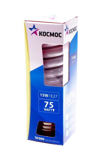 Лампа энергосберегающая КОСМОС 15Ватт 2700К Е27 Т2