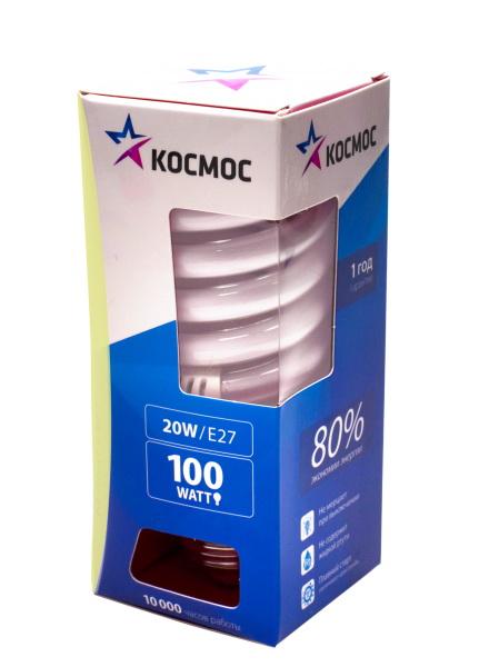 Лампа энергосберегающая КОСМОС 20Ватт 2700К Е27 Т2