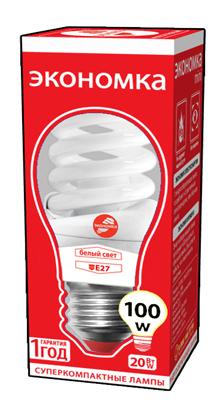 Лампа энергосберегающая ЭКОНОМКА 20Ватт 4200К Е27 Т2 лампа энергосберегающая экономка 15ватт 4200к е27 т3