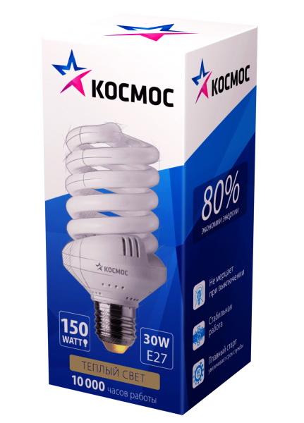 Лампа энергосберегающая КОСМОС 30Ватт 2700К Е27 Т3