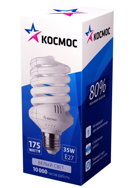 Лампа энергосберегающая КОСМОС 35Ватт 4000К Е27 Т3