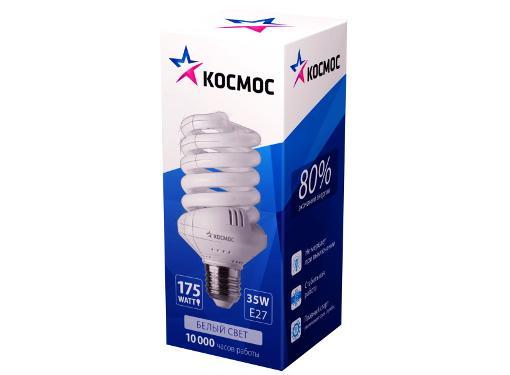 Лампа энергосберегающая КОСМОС 35Ватт 4000К E27 Т3