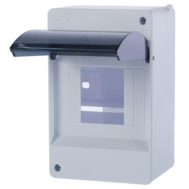 Бокс навесной Iek КМПн 2/4 щит распределительный навесной на 2 4 модуля щрн п 4 ip30 пластиковый без дверей 1 4 кмпн белый