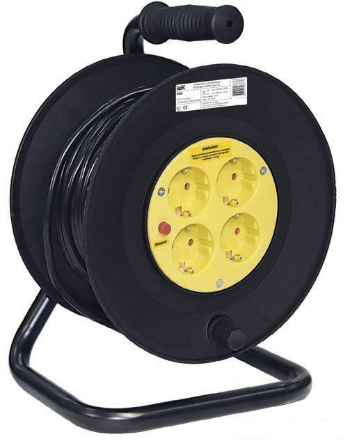 ИЭК Катушка переносная УК50 с термозащитой на 4 места 2Р+РЕ 3х1,5мм2 (50м) .