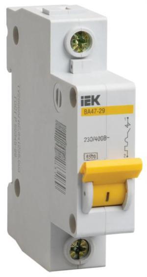 Автомат IekАвтоматические выключатели<br>Номинальный ток: 4,<br>Тип выключателя: автомат,<br>Количество полюсов: 1,<br>Номинальная отключающая способность: 4500,<br>Степень защиты от пыли и влаги: IP 20,<br>Количество модулей: 1<br>