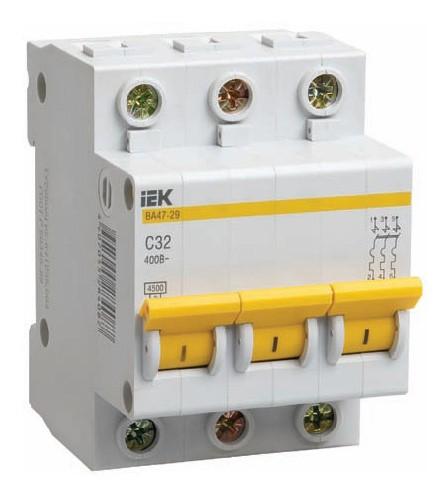 Автомат Iek 3п c/ 10А  ВА 47-29 выключатель двухклавишный наружный бежевый 10а quteo