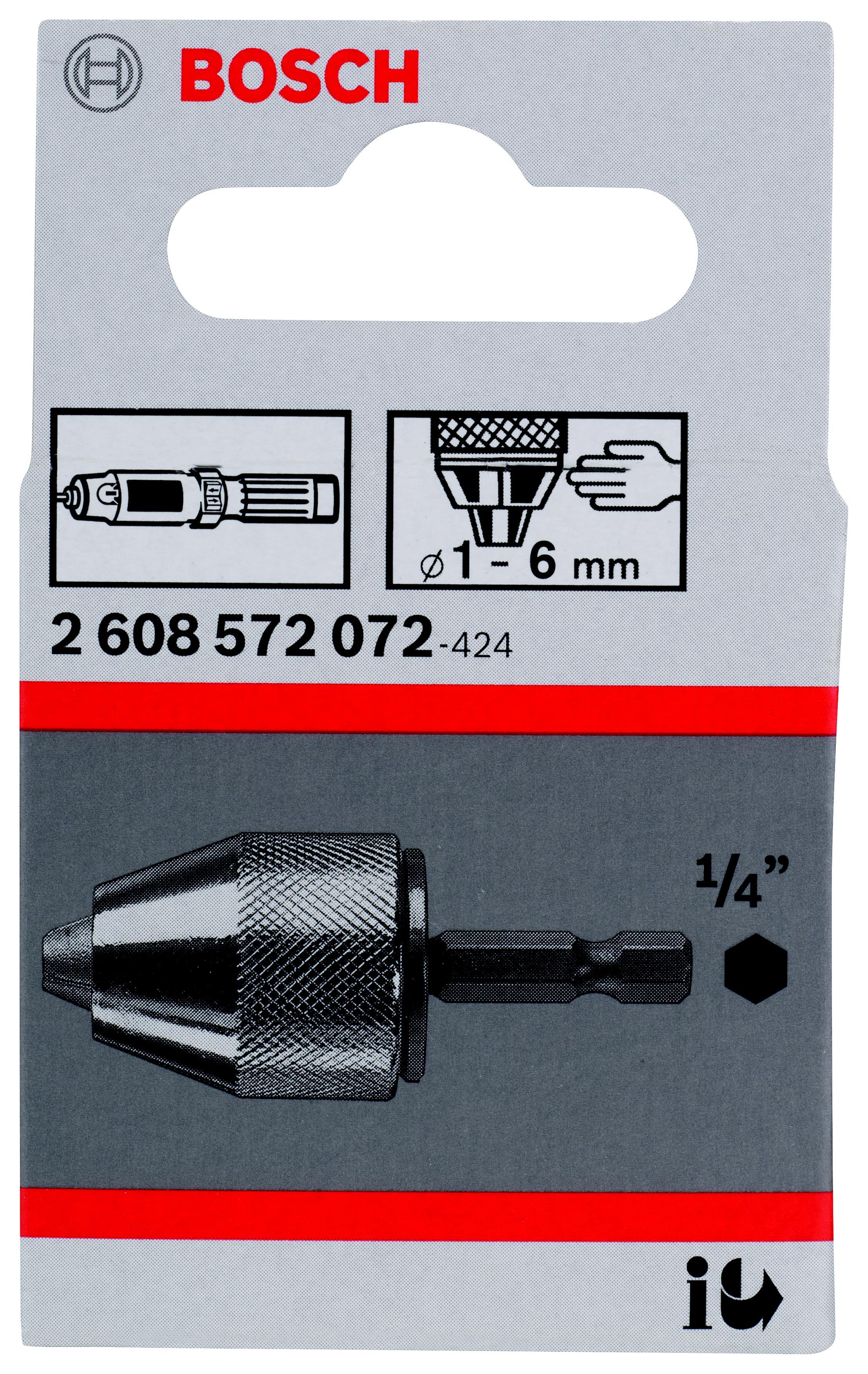 Патрон для дрели Bosch быстрозажимной 6мм, 1/4'' (2.608.572.072) отвертка насадка 1 4 6 гранник 6мм 25мм