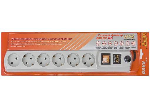 Сетевой фильтр MOST ПВС 6 гнезд 2 м белый H6