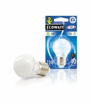 Лампа светодиодная Ecowatt P45 230В 4.7(40)w лампочка ecowatt шарик p45 e14 5 3w 230v 2700k warm white