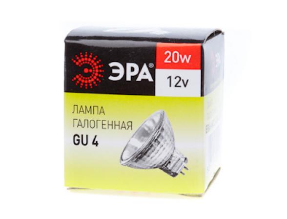 Лампа галогенная ЭРА Gu4-mr11-20w-12v-30cl