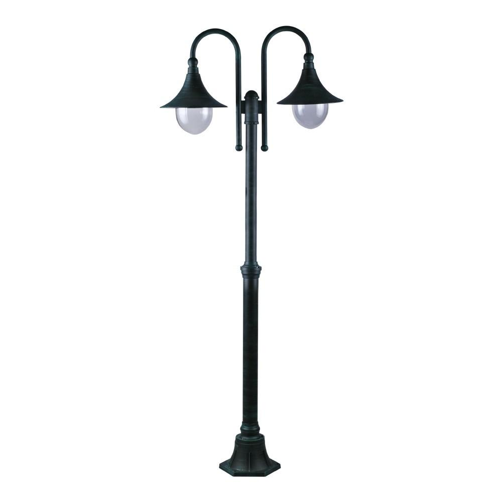 Светильник уличный Arte lampСветильники уличные<br>Мощность: 100,<br>Тип установки: на землю/пол,<br>Стиль светильника: модерн,<br>Материал светильника: металл, стекло,<br>Количество ламп: 2,<br>Тип лампы: накаливания,<br>Патрон: Е27,<br>Степень защиты от пыли и влаги: IP 44,<br>Цвет арматуры: антично-зеленый,<br>Диаметр: 760,<br>Длина (мм): 250,<br>Ширина: 760,<br>Высота: 2300<br>
