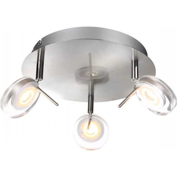 Спот GloboСпоты<br>Тип: спот, Стиль светильника: модерн, Материал светильника: металл, стекло, Количество ламп: 3, Тип лампы: светодиодная, Мощность: 5, Патрон: LED, Цвет арматуры: никель, Диаметр: 250, Высота: 160, Коллекция: canyon<br>